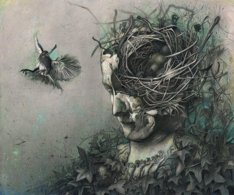 rod-luff-fantasy-painting-art-bird-nest-head-nature-elf-beautiful