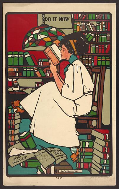 Chromolithograph of a college student reading,  by Sadie Wendell Mitchell, 1909
