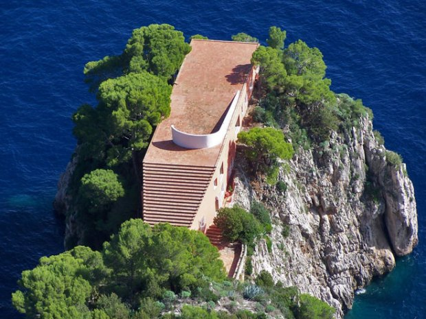 Casa Malaparte House perched on the eastern side of Capri on Punta Massullo, Italy